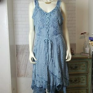 Coline Blue Gray Hobo Hippie Embroidered Dress XL
